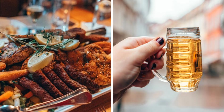 A giant platter of schnitzel and meats and a tiny beer in Graz, Austria.