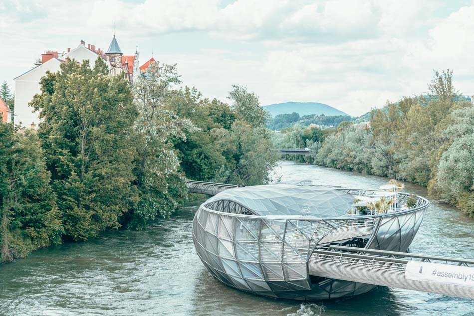 Murinsel, a floating bar in the river in Graz, Austria.