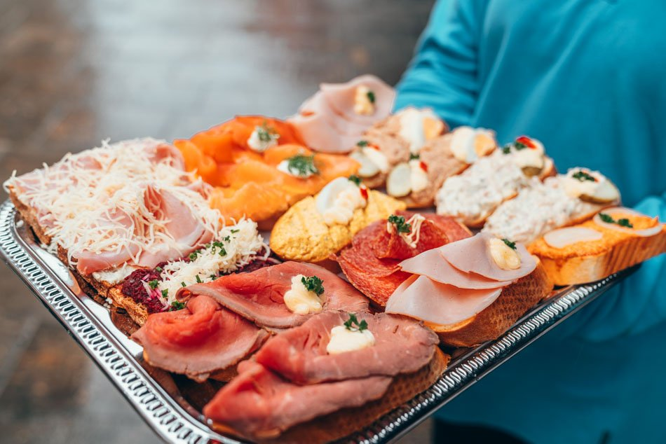 A tantalizing selection of open faced sandwiches from Frankowitsch Delicatessan, a famous Graz eatery.