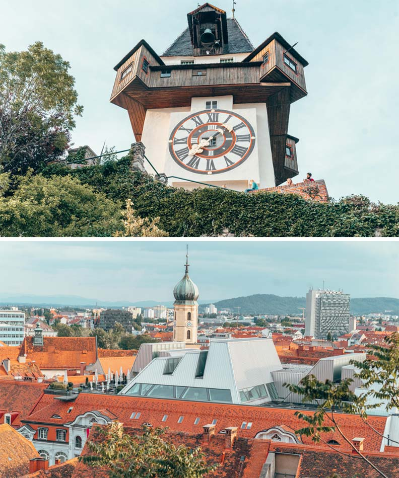 The clocktower and view from Schlossberg in Graz, Austria.