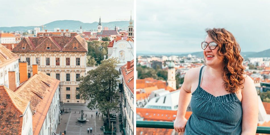 Girl overlooking view of the Lend District Schlossberg in Graz.