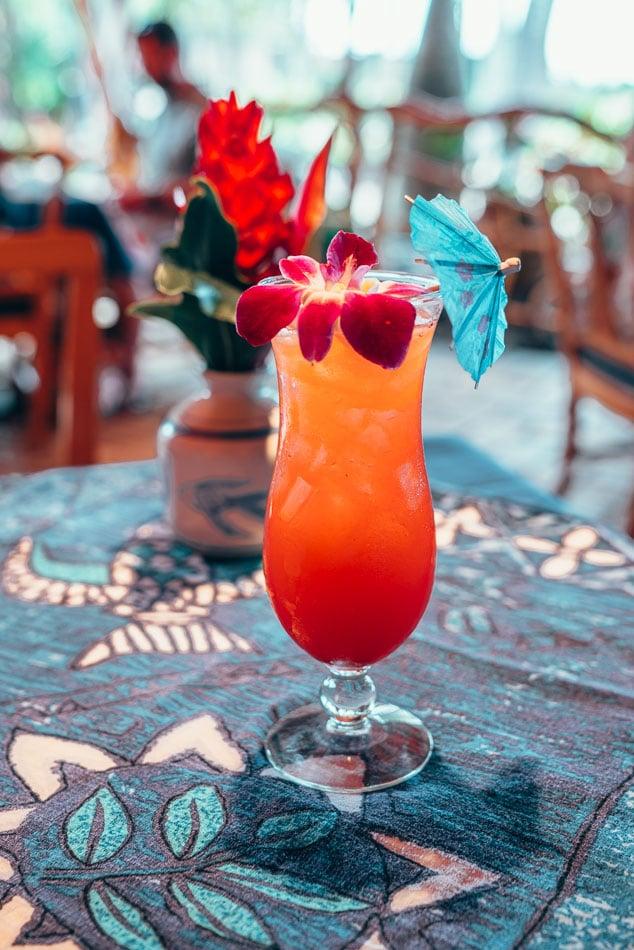Cocktail at Fish dinner at Mama's Fish House in Maui Hawaii