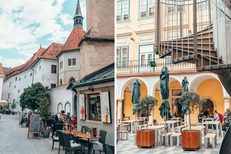 Walking through Old Town in Graz. Right: a cute courtyard inside the Kastner & Öhler department store (home of one of the best rooftop views in town).
