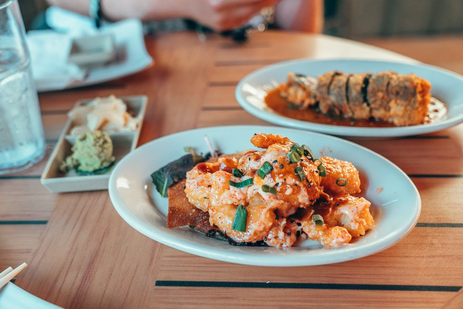 Firecracker shrimp at Sansei Sushi in Maui, Hawaii.