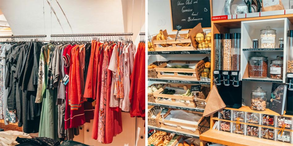 Sustainable shopping in Graz at the Chic Ethic Fair Trade Shop and a package free shop for groceries.