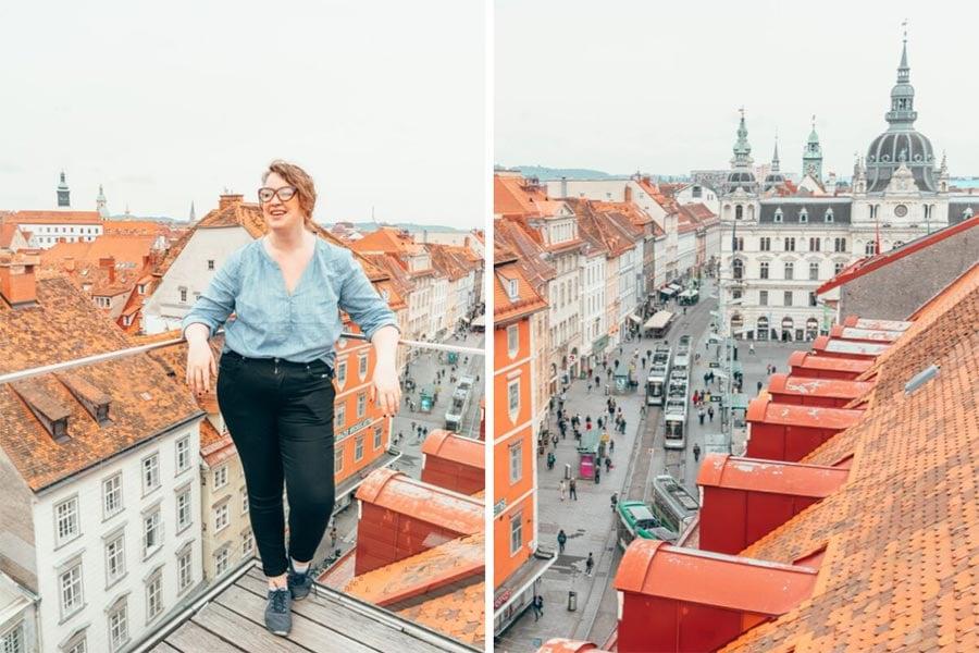 View on top of the Kastner & Öhler department store overlooking the old town in Graz Austria.