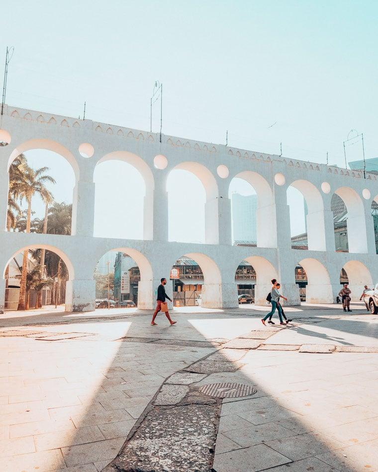 Carioca Aqueduct aka the Arcos de Lapa as the sun sets in Rio de Janeiro Brazil