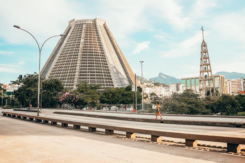 Street view of the Catedral de São Sebastião in Rio de Janeiro Brazil.
