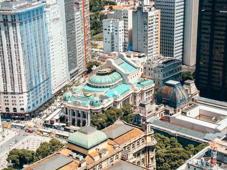 Birds eye view of the Municipal Theater in Cinelandia Square in Rio de Janeiro Brazil.
