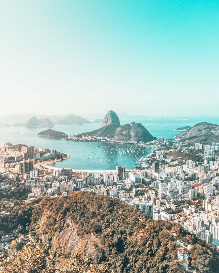 The city skyline of Rio de Janeiro, Brazil in full color.
