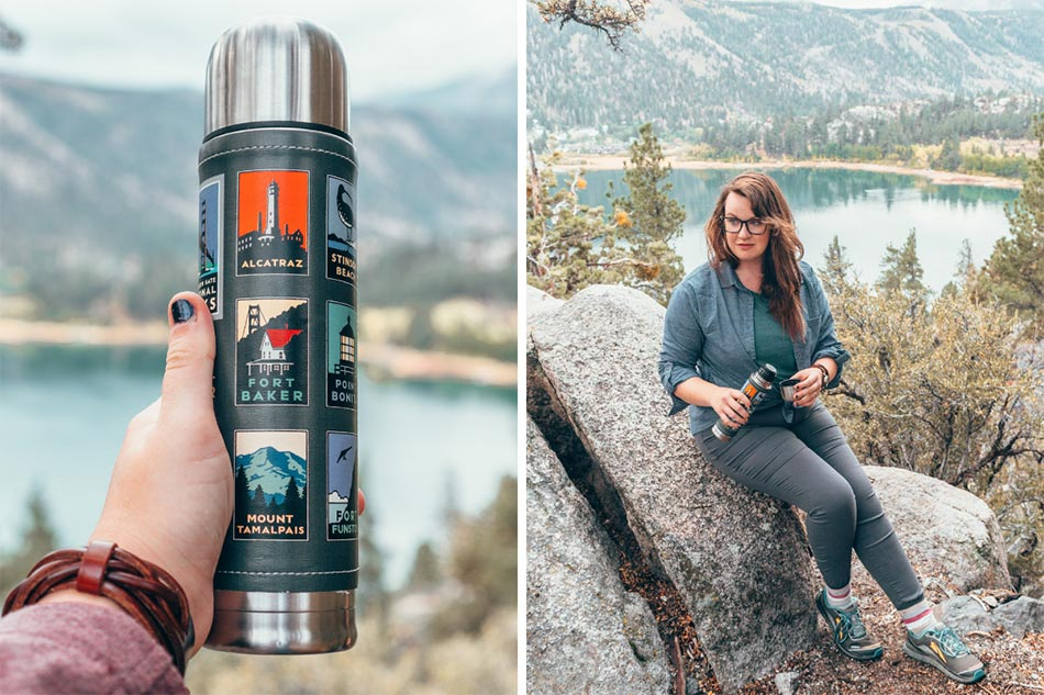 Coffee thermos on a hike in the eastern Sierra Nevadas, in June Lake, California.