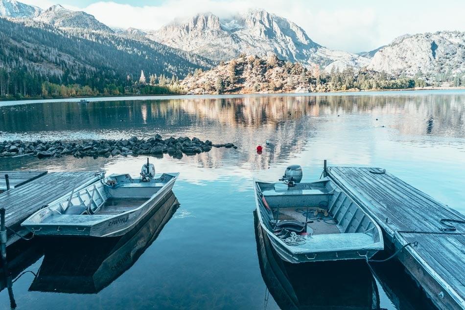 Boats at the dock at Gull Lake Marina in June Lake, California.