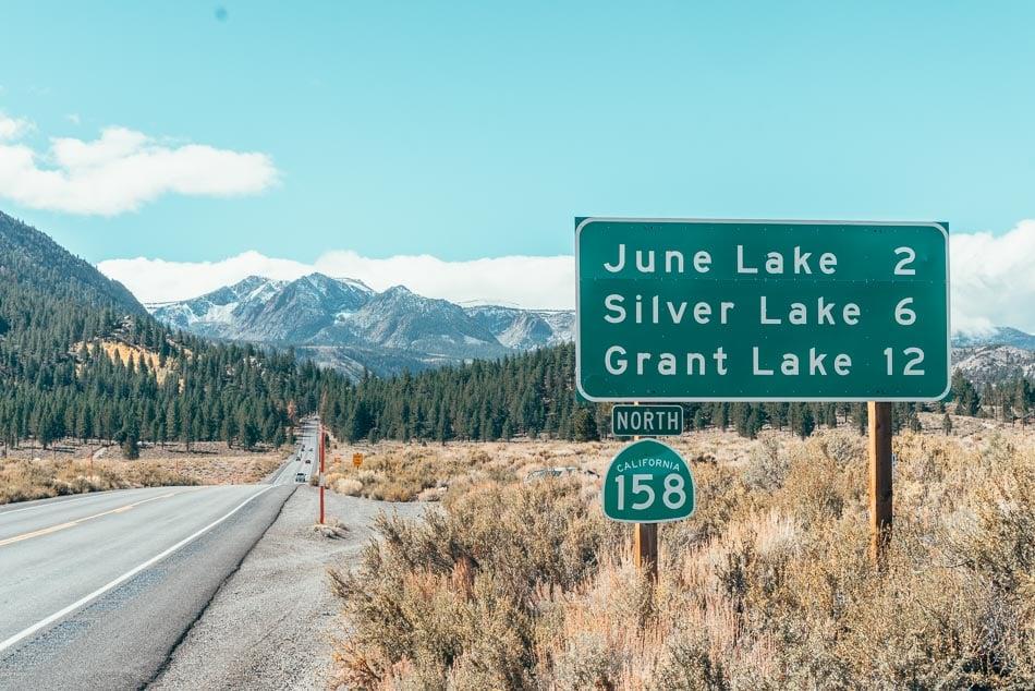 Highway 158 sign for June Lake, Silver Lake, and Grant Lake on the June Lake Loop.