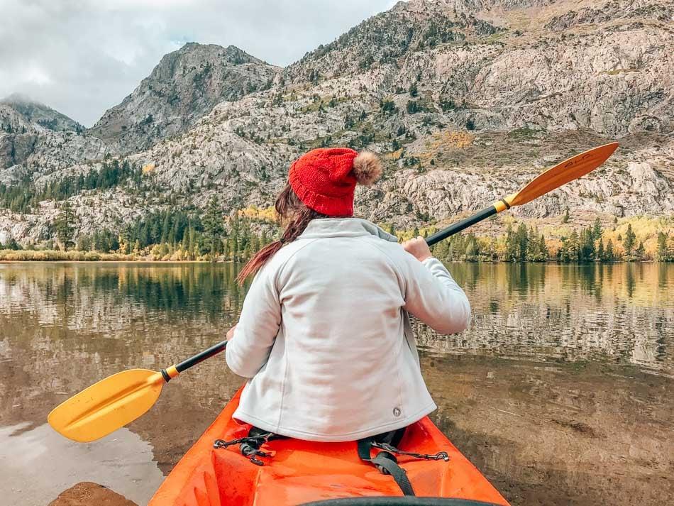 Kayaking on Silver Lake California in the fall.