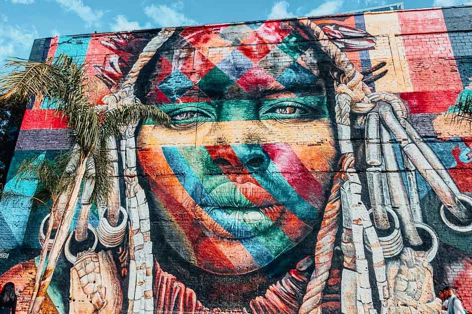 Street art on the walls of Olympic Blvd. in Rio de Janeiro Brazil.