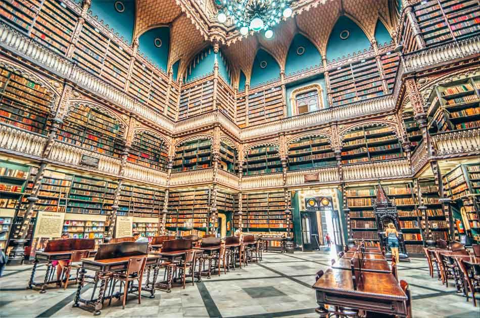 Inside entrance view of the royal Portuguese reading room in Rio de Janeiro Brazil.