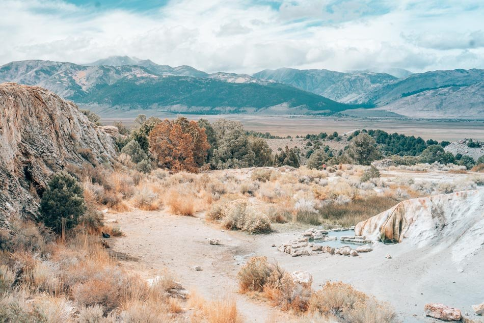 Travertine Hot Springs, surrounded by mountains in the Eastern Sierra Nevadas, California.