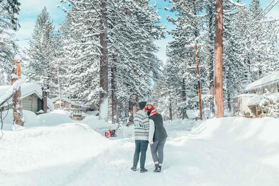 Lia and Jeremy in Lake Tahoe, California in the winter.