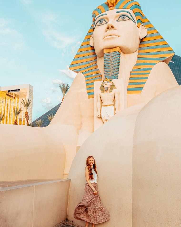 Girl standing in front of the Luxor Sphinx in Las Vegas., Nevada.