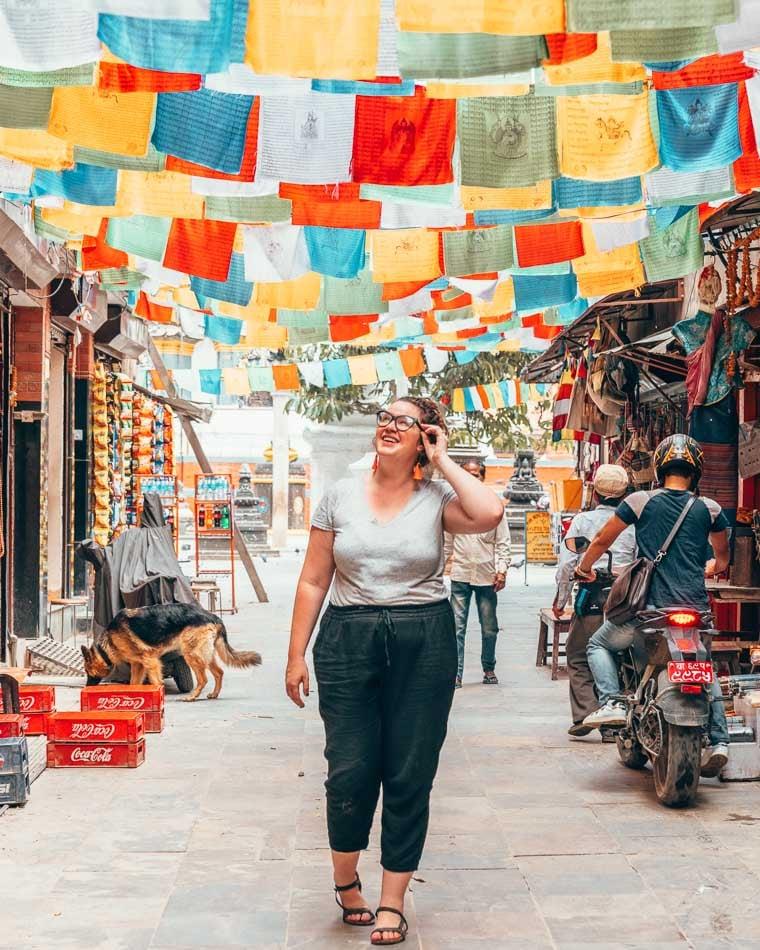 Prayer flag alley in Kathmandu, Nepal.
