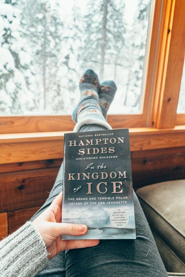 Reading in a cabin in Lake Tahoe.
