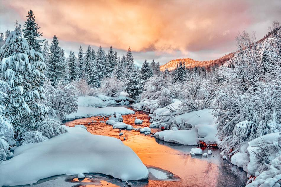 Winter Sunset South Upper Truckee River South Lake Tahoe, California