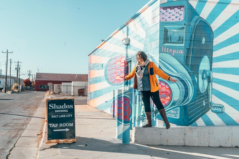 Cotopaxi Fleece Jacket, one of the best sustainable travel gifts., in Salt Lake City Utah at Shades Brewing.