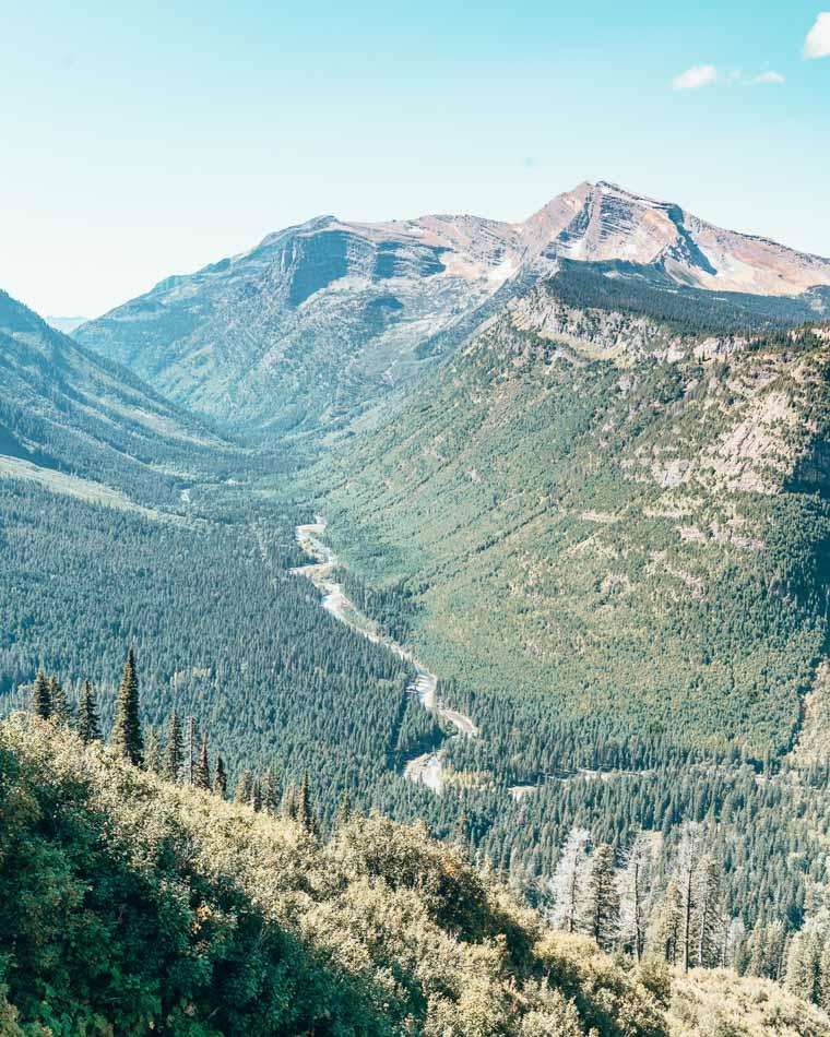 U-shaped valleys in Glacier National Park, Montana.