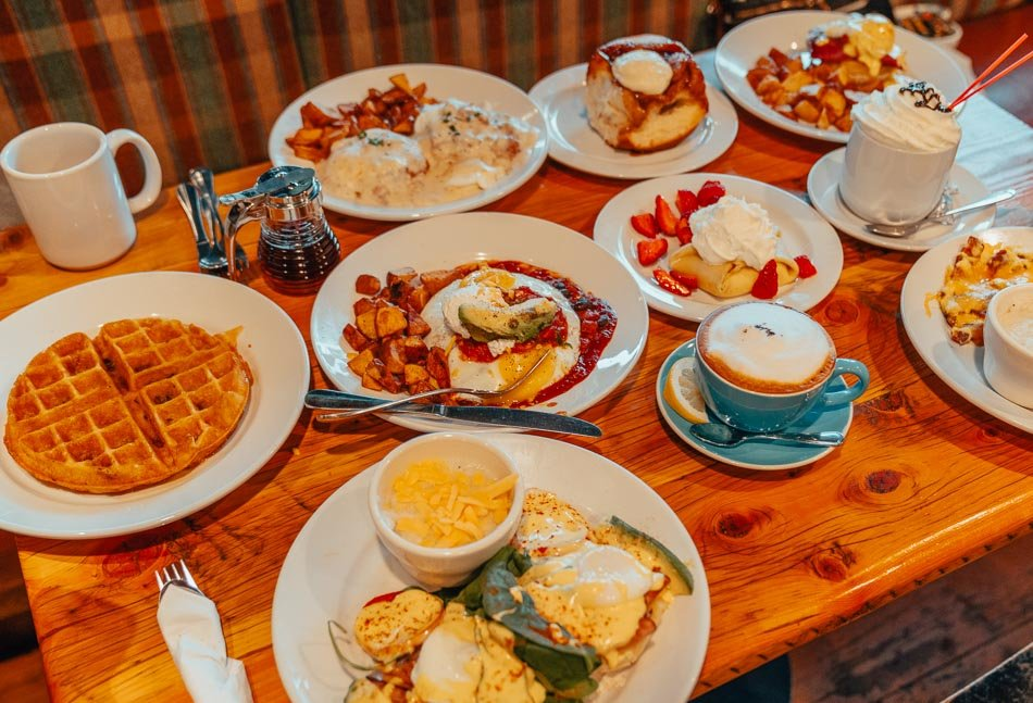 Giant breakfast at Pocketstone Cafe in Big Fork, Montana!