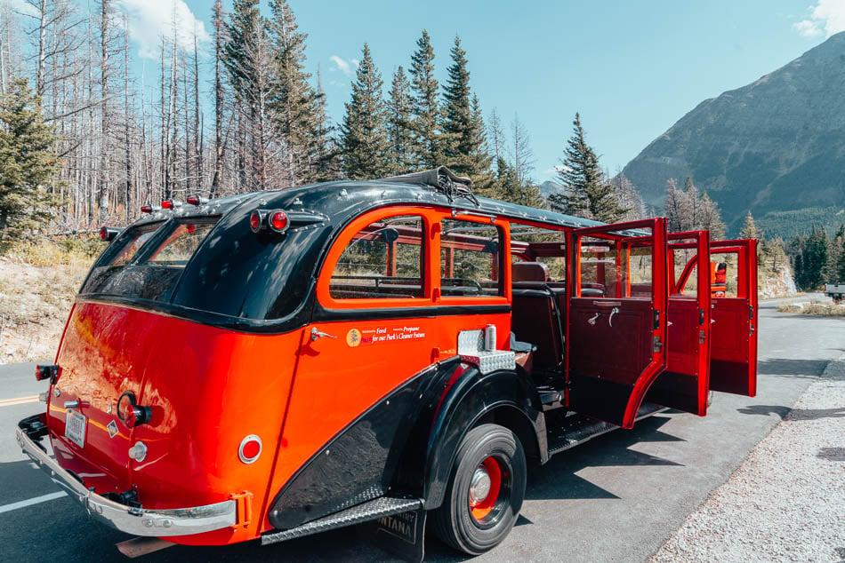 The historic Red Bus Tour though Glacier National Park.