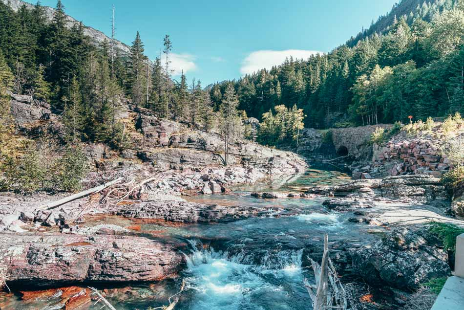 Gushing waterfall in Glacier National Park, Montana.