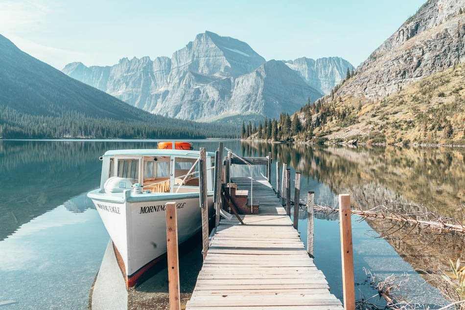 The Morning Eagle boat docked at stunning Lake Josephine in Glacier National Park, Montana.
