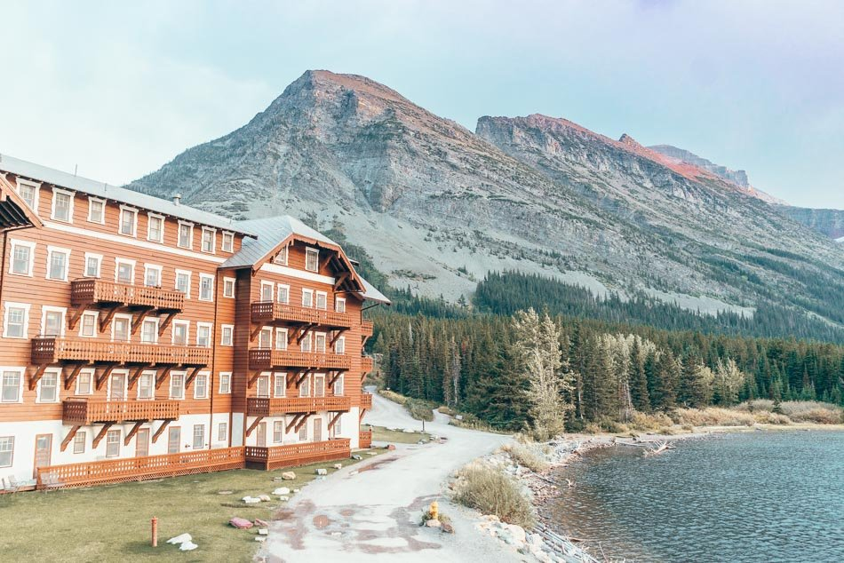 Many Glacier Hotel is one of the historic railroad hotels located in Glacier National Park.