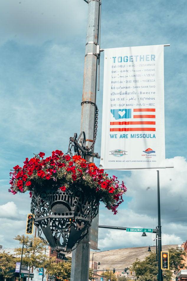 Missoula, Montana welcoming sign.