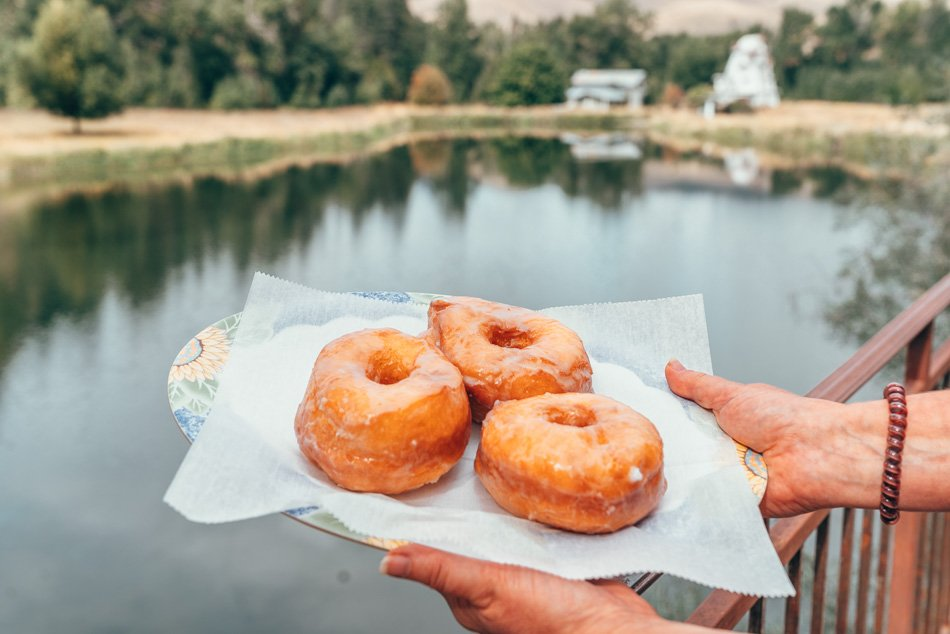 Donuts at the Windmill Bakery, the perfect stop on a Montana road trip.