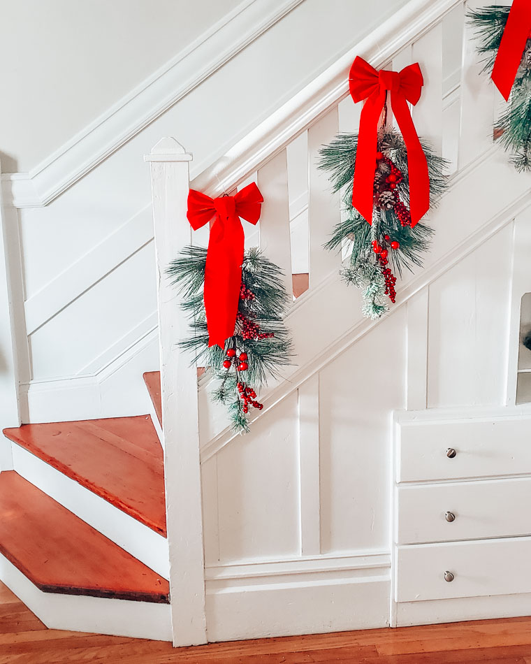 Christmas decor on stairs