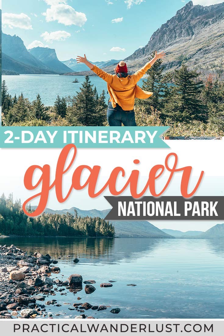 Glacier National Park, Montana is one of the best USA travel destinations! We designed the perfect 2-day Glacier National Park itinerary for folks with limited time to explore the park. Hiking, Many Glacier, Going to the Sun Road, and more: a short getaway to Glacier National Park Montana is one of the best ways to spend your weekend.