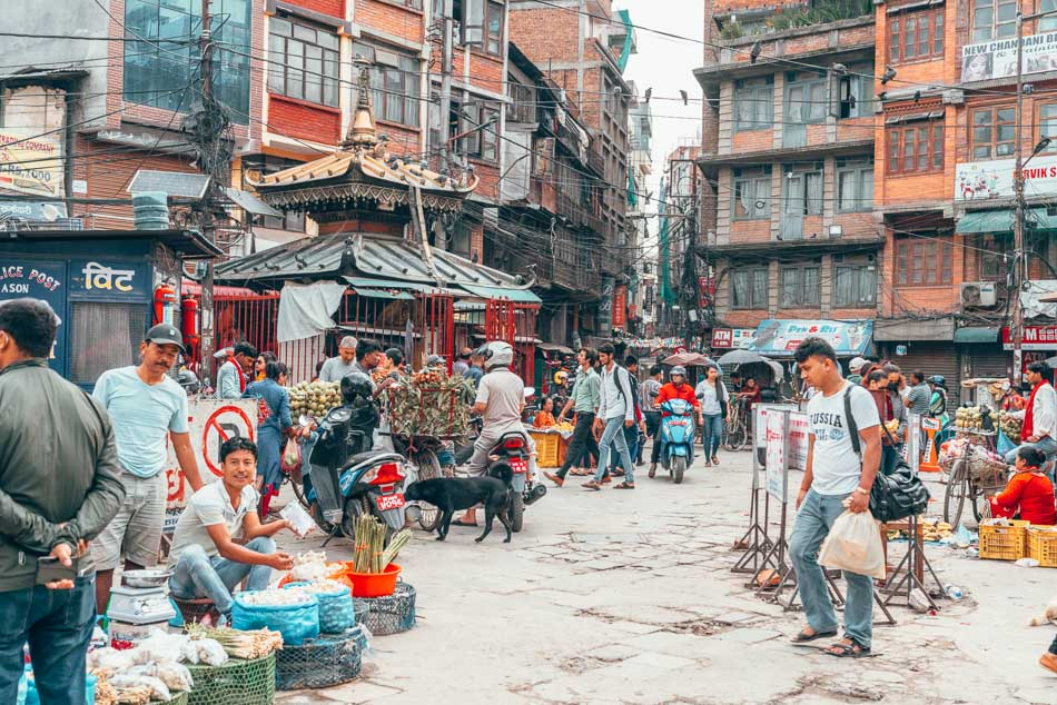 Thamel in Kathmandu, Nepal.