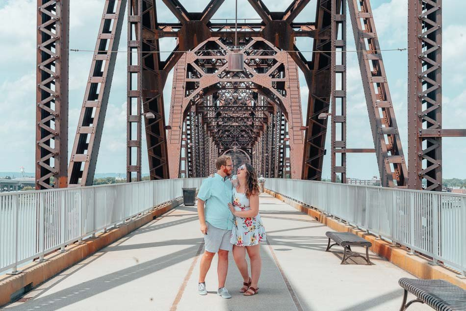 Lia and Jeremy on the Big Four Bridge in Louisville, Kentucky.