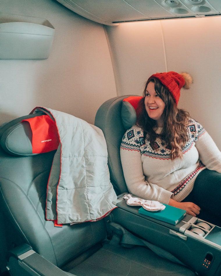 Enjoying Norwegian Airlines Premium Class on the Dreamliner flight to Norway!