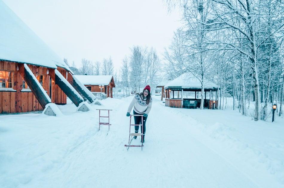 Sledding in Alta, Norway.