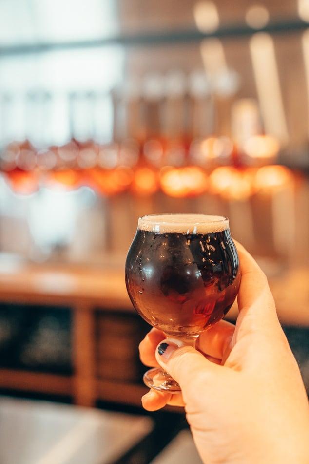 Beer taster at Shades Brewing in Salt Lake City, Utah