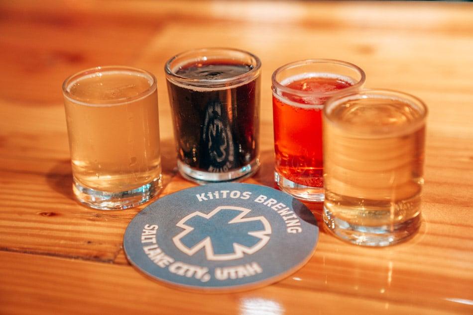 Beer flight at Kiitos Brewing in Salt Lake City, Utah, one of the best breweries in Salt Lake City.