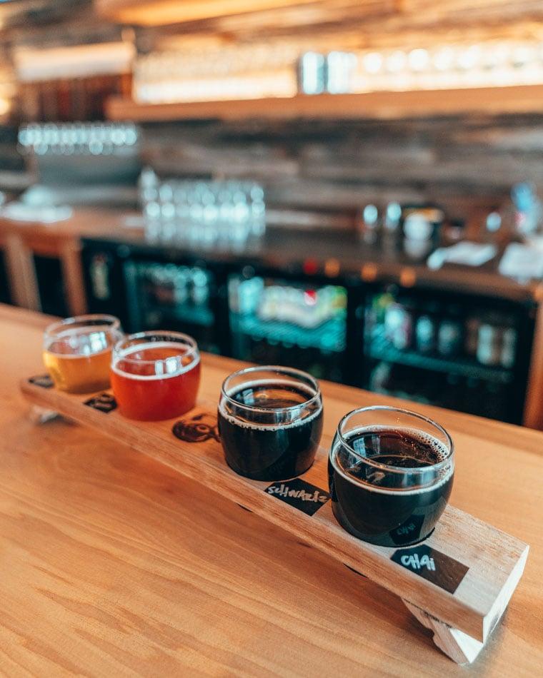 Beer tasting flight at Saltfire Brewing in Salt Lake City, Utah. Saltfire is one of the best Salt Lake City breweries.