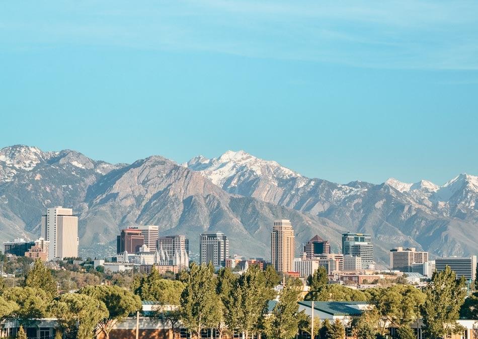 Salt Lake City, Utah skyline and mountain views
