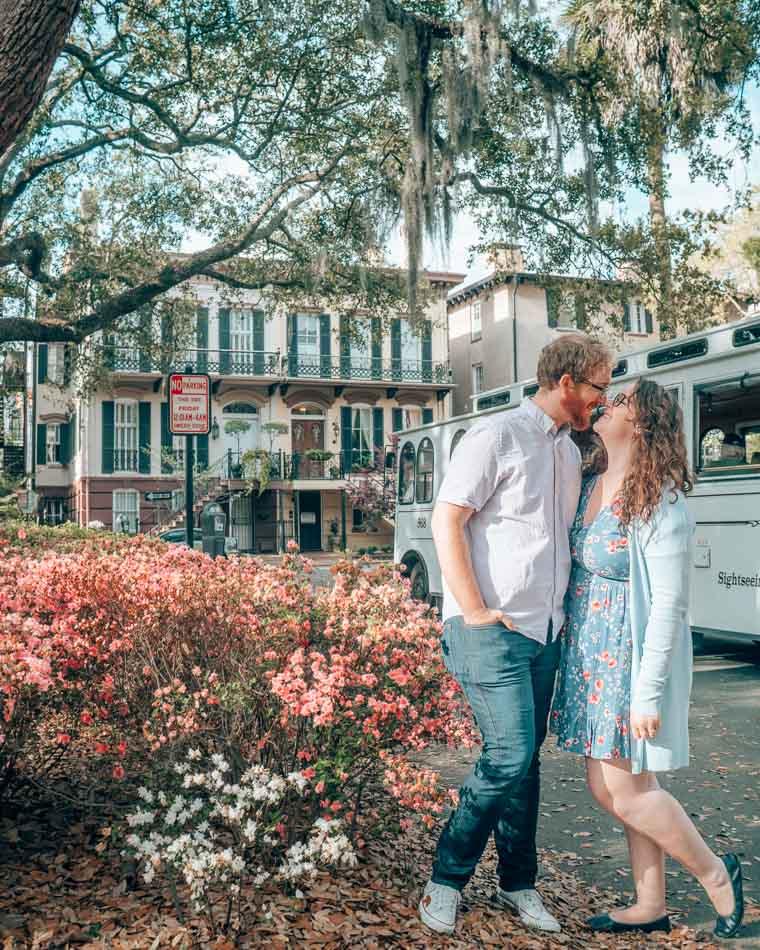 Kissing under an oak tree in Savannah, Georgia.