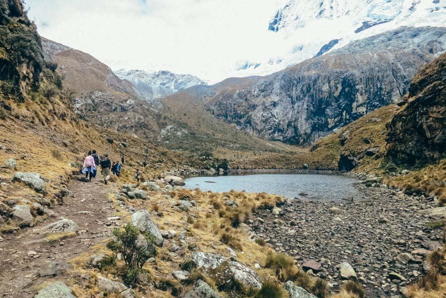 Glacier lake on trek to Laguna 69