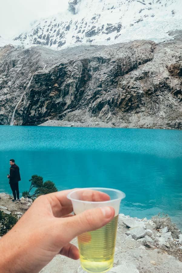 Rewards after reaching Laguna 69 Huaraz
