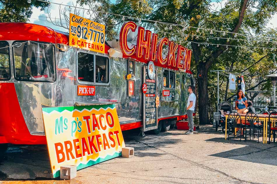 Ms. P's Electric Cock Food Truck in Austin, Texas.