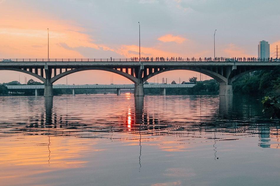 Austin, Texas at sunset on the Congress Avenue bridge.